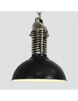 Industrie Hängeleuche schwarz-silber, Hängelampe schwarz Industriedesign, Durchmesser 52 cm