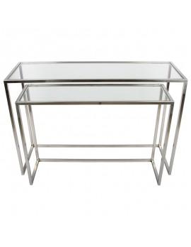 2er Set Konsole, Wandkonsole Metall silber, Wandtisch verchromt Glas-Metall