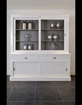 Vitrinenschrank weiß, Geschirrschrank,  Wohnzimmerschrank im Landhausstil, Breite 200 cm