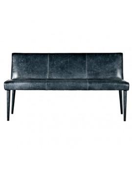 Bank schwarz Landhausstil, Sitzbank schwarz Leder, Lederbank schwarz, Breite 158 cm