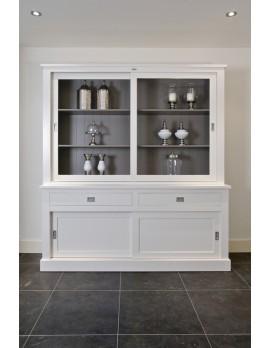 Vitrinenschrank weiß Landhaus, Geschirrschrank, Wohnzimmerschrank weiß im Landhausstil, Breite 160 cm