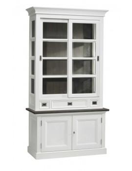 Vitrine weiß im Landhausstil, Geschirrschrank weiß-braun, Breite 124 cm