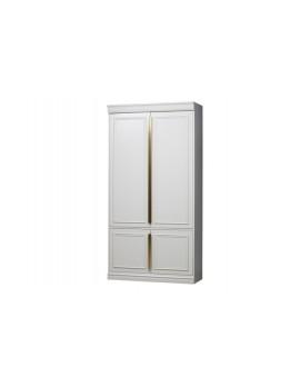 Schrank weiß Massivholz, Bücherschrank weiß Holz, Aktenschrank weiß, Büroschrank weiß, Breite 110 cm