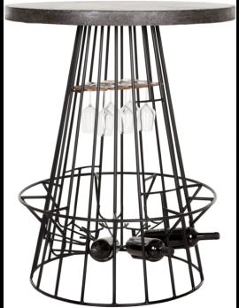 Weintisch grau, Weintisch Industriedesign, Metallgestell, Bartisch rund, Basalt, Ø 90 cm