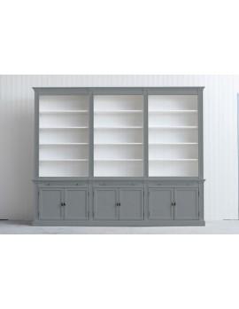 Bücherschrank grau Landhausstil, Schrank grau Landhaus, Bücherschrank Landhaus in fünf Farben, Breite 300 cm