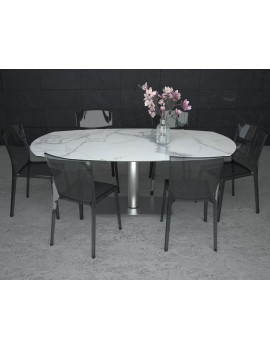Ausziehtisch Keramik-Tischplatte, Esstisch Keramikplatte, Esstisch Marmor-Optik ausziehbar,  Breite 130-200 cm