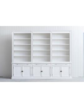 Bücherschrank weiß Landhausstil, Schrank weiß Landhaus, Bücherschrank Landhaus in fünf Farben, Breite 300 cm