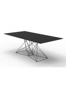 Design Tisch schwarz  Metall, Esstisch schwarz, Gartentisch schwarz, Länge 200 cm