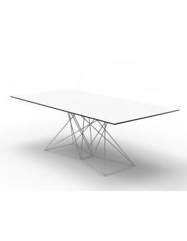 Design Tisch weiß Metall, Esstisch modern weiß, Länge 200 cm