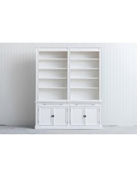 Bücherschrank weiß Landhausstil, Schrank weiß Landhaus, Bücherschrank Landhaus in fünf Farben, Breite 200 cm