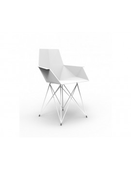 Stuhl mit Armlehne weiß,  Design Stuhl weiß Kunststoff Metall, Stuhl outdoor weiß