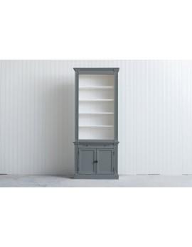 Bücherschrank grau Landhausstil, Schrank grau Landhaus, Bücherschrank Landhaus in fünf Farben, Breite 100 cm
