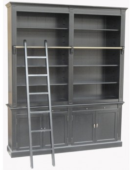 Bücherschrank schwarz Landhaus, Bücherschrank weiß Landhausstil, Breite 200 cm