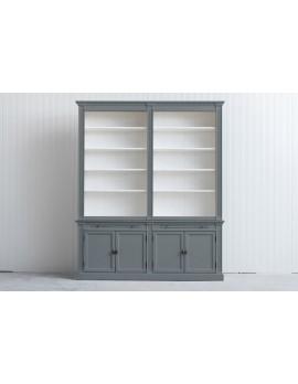 Bücherschrank grau Landhausstil, Schrank grau Landhaus, Bücherschrank Landhaus in fünf Farben, Breite 200 cm