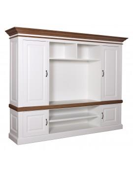 Fernsehschrank weiß Landhausstil, TV Schrank weiß, Bücherschrank weiß, Breite 210 cm