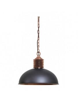 Pendelleuchte Kupfer schwarz Metall Industriedesign, Hängeleuchte schwarz Kupfer Industrie, Hängelampe schwarz Metall, Durchmesser 52 cm