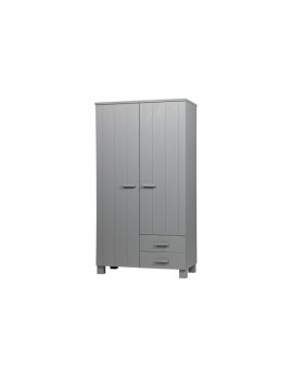 Kleiderschrank grau Holz massiv, Schrank grau, Breite 111 cm