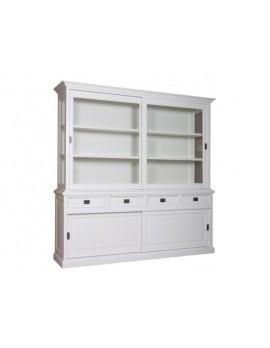 Vitrine weiß, Geschirrschrank weiß, Schrank weiß Landhaus, Breite 220 cm