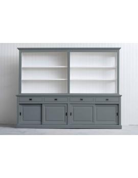 Bücherschrank grau , Bücherschrank Landhausstil, Schrank grau Landhaus, Breite 300 cm