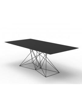 Design Tisch schwarz Metall, Esstisch schwarz, Länge 200 cm