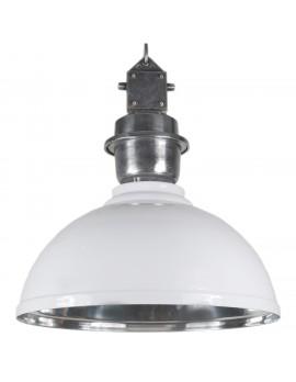 Pendelleuchte weiß - silber Industrie-Lampe, Hängelampe weiß Industrie, Durchmesser 52 cm