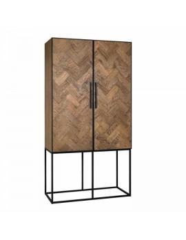 Schrank Metall-Gestell, Geschirrschrank Holz Metall, Breite 110 cm