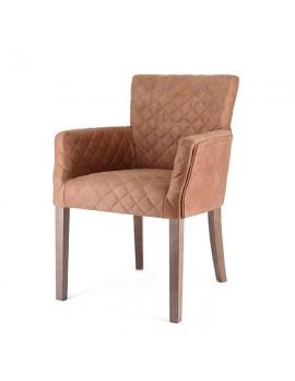 Stuhl mit Armlehne gepolstert Landhausstil, Stuhl cognac gepolstert