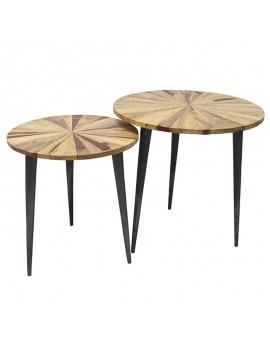 Beistelltische aus Stahl Holz 2er set Mosaikmuster rund