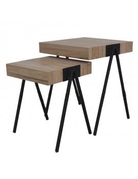 Beistelltische aus Holz Metall zwei stück quadratisch