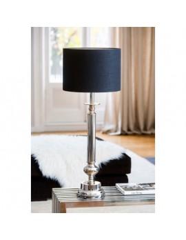 Tischlampe mit Lampenschirm schwarz, verchromte Tischleuchte Lampenschirm schwarz, Höhe 90 cm