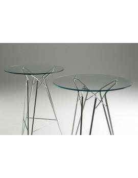 Bartisch rund Glas, Stehtisch Glasplatte rund Metall-Gestell, Ø 70 cm