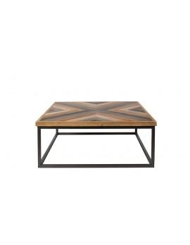 Couchtisch Holz-Tischplatte, Tisch Landhaus Metall-Gestell, Maße 81x81 cm