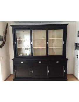Vitrine schwarz-weiß, Geschirrschrank schwarz, Schrank schwarz Landhaus, Breite 230 cm