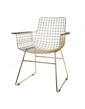 Stuhl Metall Bronze, Metall-Stuhl Bronze, Stuhl mit Armlehne