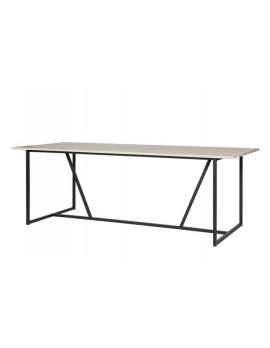 Tisch Naturholz Metall-Gestell, Esstisch Massivholz, Breite 220 cm
