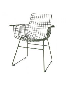 Stuhl Metall grün, Metall-Stuhl grün, Stuhl mit Armlehne