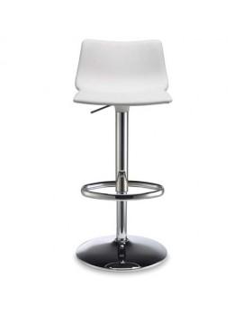 Barstuhl, weiß, variabel Sitzhöhe 57-79 cm, chrom, Lederoptik