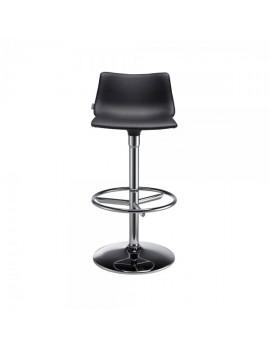 Barstuhl, schwarz, variabel Sitzhöhe 76 cm, chrom, Lederoptik