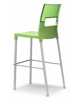 Design Barstuhl, transparent grün, Sitzhöhe 75 cm, Outdoor