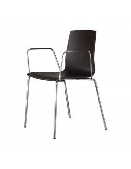 Stuhl Natural aus Buche Schichtholz-Metall für Objekteinrichtung mit Armlehne