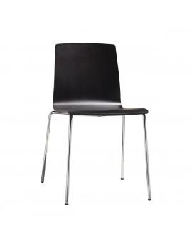 Stuhl Natural aus Buche Schichtholz-Metall für Objekteinrichtung Wenge gebeizt