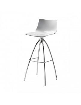 Barstuhl weiß, Sitzhöhe 65 cm, Beine verchromt