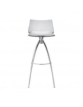 Barstuhl transparent, Sitzhöhe 65 cm, Beine verchromt