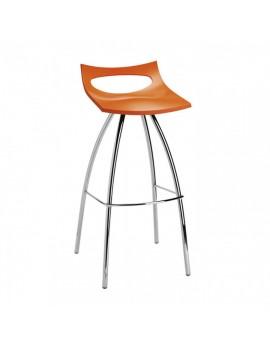 Barhocker orange, Sitzhöhe 80 cm, Beine verchromt