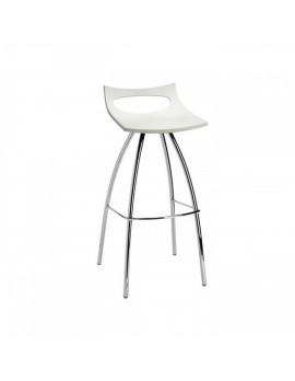 Barhocker weiß, Sitzhöhe 65 cm, Beine verchromt