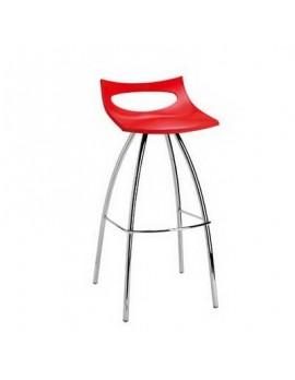 Barhocker rot, Sitzhöhe 65 cm, Beine verchromt