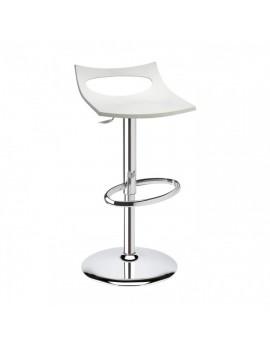 Barstuhl, weiß, Sitzhöhe variabel 54-79 cm, chrom Drehbar