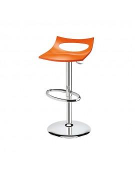 Barstuhl, orange, Sitzhöhe variabel 54-79 cm, chrom Drehbar