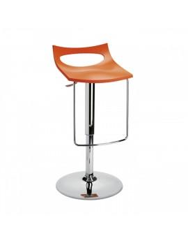 Barstuhl, orange, Sitzhöhe variabel 54-79 cm, chrom Drehbar U-Form