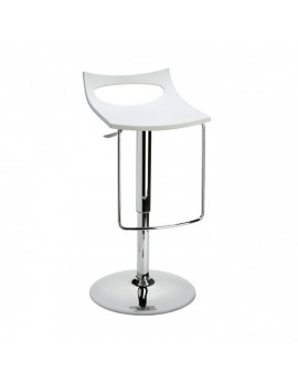 Barstuhl, weiß, Sitzhöhe variabel 54-79 cm, chrom Drehbar U-Form
